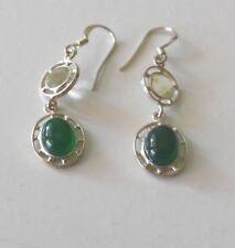 Ohrringe Ohrhänger mit Achat grün und Prasioltih 925er Silber rhodiniert neu