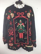 Vintage Nutcracker Womens Ugly Christmas Sweater Black Turtleneck Large