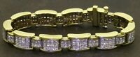 Heavy 18K gold amazing 15.18CTW VS/F-G Princess diamond cluster link bracelet