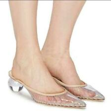 Womens Clear Ball Low Heels Pointed Toe Slippers Formal Mules Sandals Roman Hot