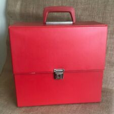 Retro Red sturdy carry case with key for Vinyl Records.