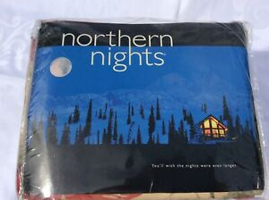 Northern Nights DOUBLE Cream / red / green Flannel cotton complete duvet set