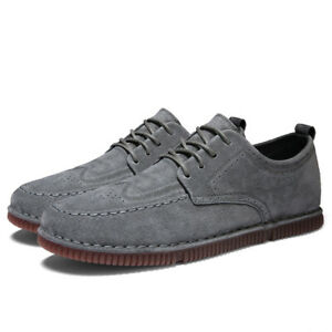 Retro Mens Faux Leather Leisure Shoes Round Toe Lace up Walking Breathable New L