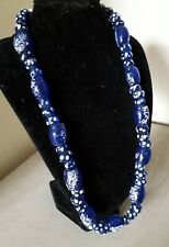 Necklace Hand-Made Speckled Blue Glass Beads Antique Vintage Art Deco 1930S 40S