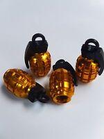 Gold Grenade Car Bike Motorcycle BMX Wheel Tyre Valve Metal Dust Caps Set of 4