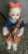 "BISQUE Head HERTWIG German MINI Girl Doll Posable W/ Tiny Jtd Rabbit 1.5"" CUTE !"