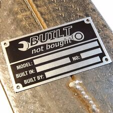 Anodized Aluminium Built Not Bought vin name plate etched - without stamp - DIY