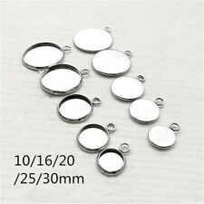 30/50x Stainless Steel Pendants Jewelry DIY Round Cabochon Blank Bezel Base Tray