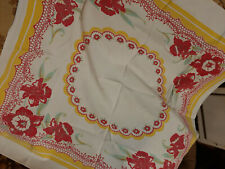 New listing 40s 50s Vintage Retro Red and Yellow Daffodil Tablecloth