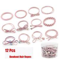12PCS Holder Gift Girls Elastic Rubber Band Women Hairband Bowknot Hair Ropes ~