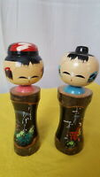 Vintage Hand Carved and Painted Oriental Couple