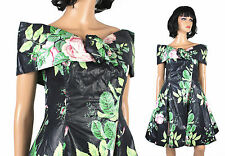 Vintage 80s Prom Dress S Short Black Pink Green Floral Polished Cotton Gown Expo