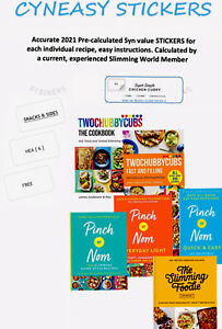 🌟SLIMMING WORLD SYN STICKERS 6PACK PINCH OF NOM SLIMMING FOODIE TWO CHUBBY CUBS