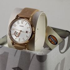 NEW AUTHENTIC FOSSIL VINTAGE MUSE ROSE GOLD BROWN LEATHER WOMEN'S ES3751 WATCH