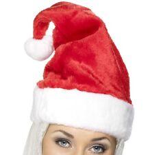 Disfraz de Navidad suave lujo gorro Papá Noel rojo / blanco terciopelo Smiffys