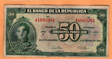 COLOMBIA 50 FIFTY PESOS 1947 p393b
