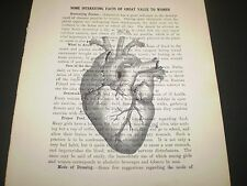 1893 ORIGINAL DICTIONARY BOOK PAGE WITH VINTAGE ARTWORK OF A HUMAN HEART