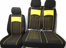 VW TRANSPORTER T5 VAN SEAT COVER YELLOW STITCH CLOTH P40Y IN STOCK!!