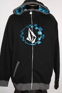 NEW NWT VOLCOM Mens medium M Moto Stone Embroidered hooded/Hoodie Sweatshirt