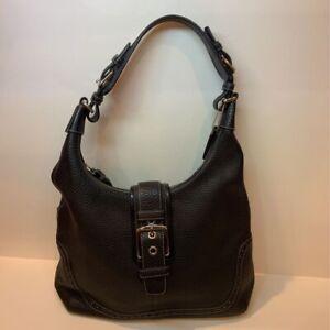 Coach Womens 5054 Hampton Hobo Shoulder Bag Black Zipper Phone Pocket Buckle
