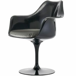 Fusion Living Black and Grey PU Tulip Style Armchair