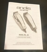 Manual & Warranty for Andis Model ML & GC Clippers ~ Manual & Warranty Card Only