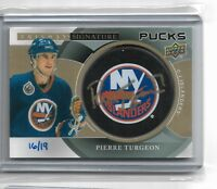 2018-19 Trilogy Hockey Signature Pucks team Logo gold Pierre Turgeon #16/19 NY