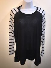RUE+ 21  WOMEN'S  Black/white STRIPED TOP/blouse Long Sleeves  Size XL New#