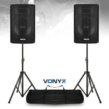 """Pair of 12"""" Active Powered PA Speakers with Bluetooth MP3 DJ with Stands 1200w"""