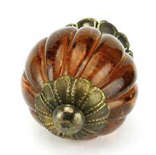 6 pc Round Amber Glass Kitchen Cabinet Knobs Drawer Handles & Pulls K194FF