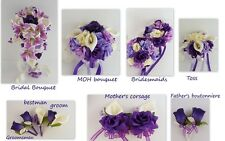 16pc Wedding Silk Flower Bridal Party Bouquet Boutonniere Corsage-Purple Ivory