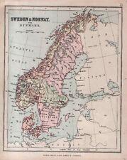 Carta geografica antica SVEZIA Sweden NORVEGIA Norway DANIMARCA 1878 Old map