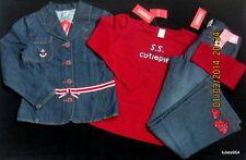 Gymboree Bon Voyage Nautical Denim Jacket Pants Red Top Heart 10 10 Plus NWT New