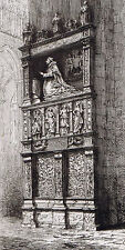 Tomb of Cardinal Hémard  - Amiens Cathedral - 1881 Copper Engraving