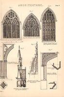 1868 Estampado Arquitectura ~ Windows Lincoln York Cathedral Torre María