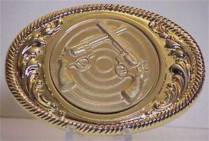 Smith & Wesson Crossed .38 Pistols 'GOLD' Belt Buckle Super Sale!