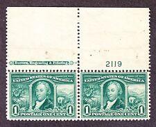 US 323 1c Louisiana Purchase Mint Top MI Plate Pair #2119 VF OG NH SCV $170