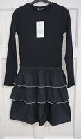 ZARA SS20 BLACK COTTON BLEND SHORT DRESS WITH MATCHING RUFFLED HEM SIZE M BNWT