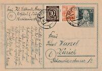 Postkarte Jahr 1947 verschickt von Erfurt nach Zürich Alliierte Besetzung