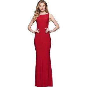 Faviana Women's Full Length Open Back Sleeveless Trumpet Gown