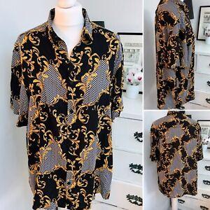 "Mens Size L Shirt Short Sleeved Black Gold Pattern Chest Size 42-44"" Lightweight"