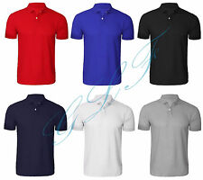 Hombre Polo Liso Camiseta liso camisa manga corta talla UK S M L Xl Xxl