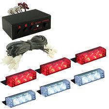 12V White Red 18 LED Car Front Grille Deck Emergency Warning Lights Strobe Lamp