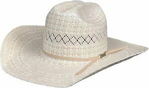 American Hat Co. 6400 Two-Tone Diamond Weave Straw Cowboy Hat, Ivory/Tan