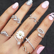 3pcs/set Cute Sweet ring Crystal Rhinestone Crown Cross Midi Finger jewelry hot