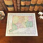 Large Original 1898 Antique Map CONNECTICUT Bridgeport Danbury Norwalk Waterbury