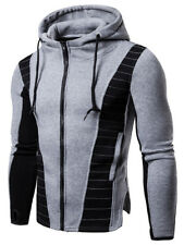 Men's Drawstring Zip Up Color Block Hoodie Jacket Sweatshirt Coat Winter Outwear