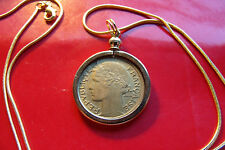"""Pre 1940  FRANCE ART DECO Lady Liberty Franc Coin Pendant 24"""" Gold Filled Chain"""