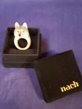 Nach Porcelain Wolf Ring Size M