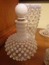 Vintage FENTON Hobnail White Opalescent MILK GLASS Perfume Bottle Round Stopper